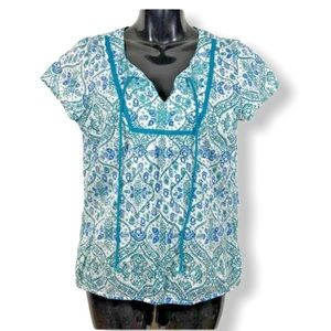 PRANA Top Cap Sleeve Lightweight Boho Cotton